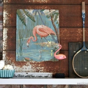 Mantel Decor Featuring Pink Flamingos & Warm Fall Colors