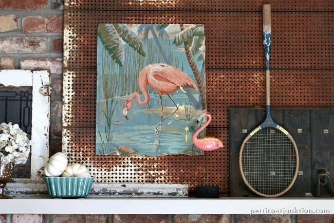pink flamingo mantel decor