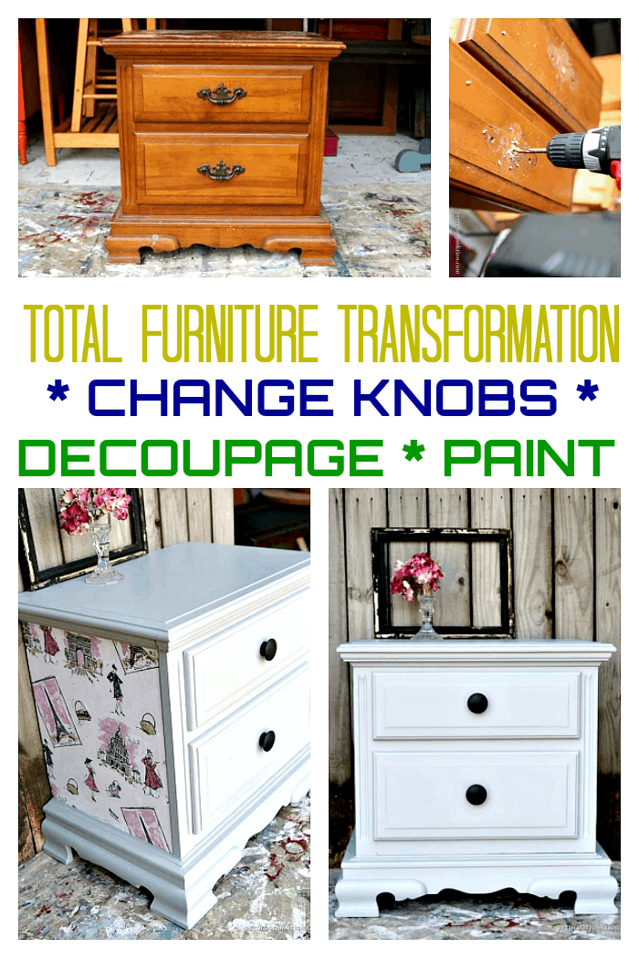Total furniture makeover with paint, new knobs, and fabric decoupage