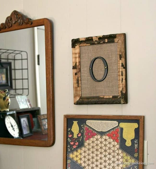 framed burlap monogram wall decor Petticoat Junktion