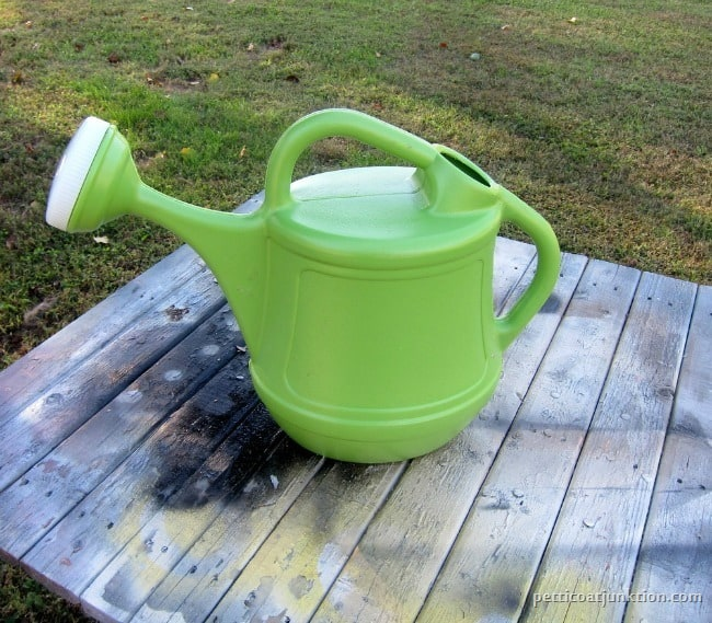 green plastic thrift store watering can