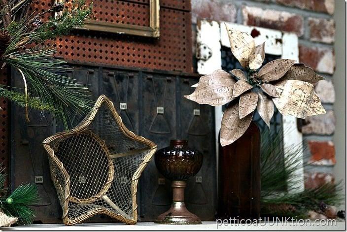 Amber glass mantel decor Petticoat Junktion rustic Christmas mantel