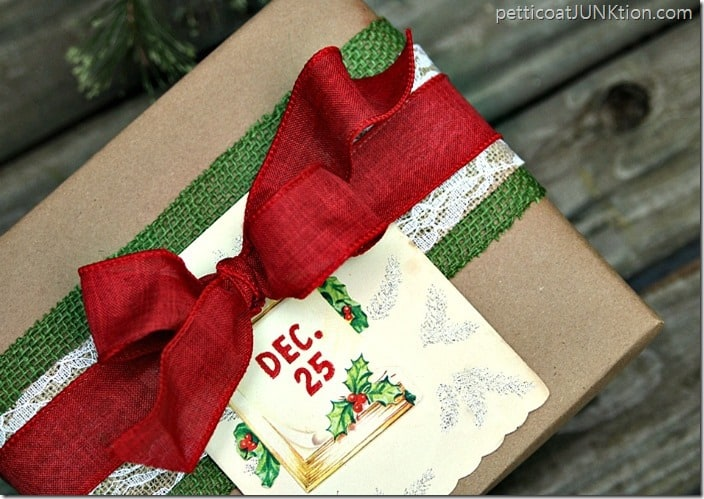 Christmas gift wrap idea burlap ribbon and Kraft paper Petticoat Junktion