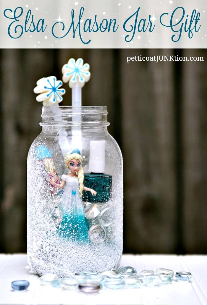 Elsa frozen mason jar gift for granddaughter petticoat for Jar crafts for gifts