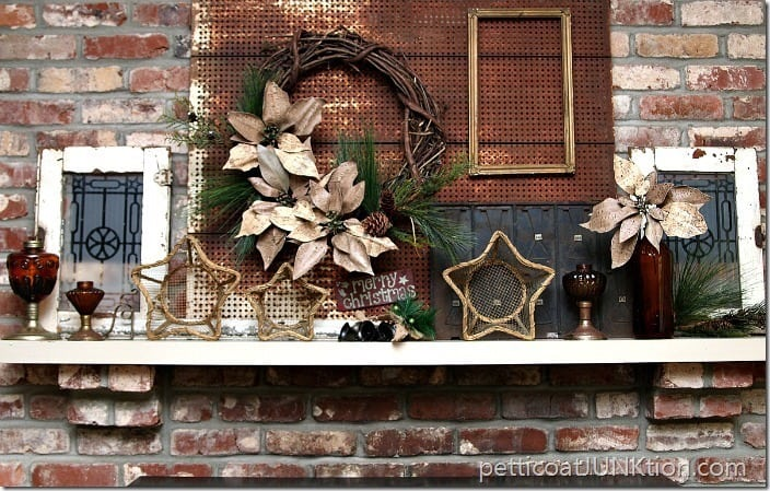 Poinsettia Grapevine wreath Christmas Mantel decor Petticoat Junktion