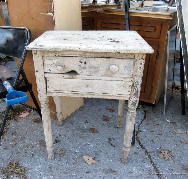 Shabby Antique Handmade Table With Chippy White Paint