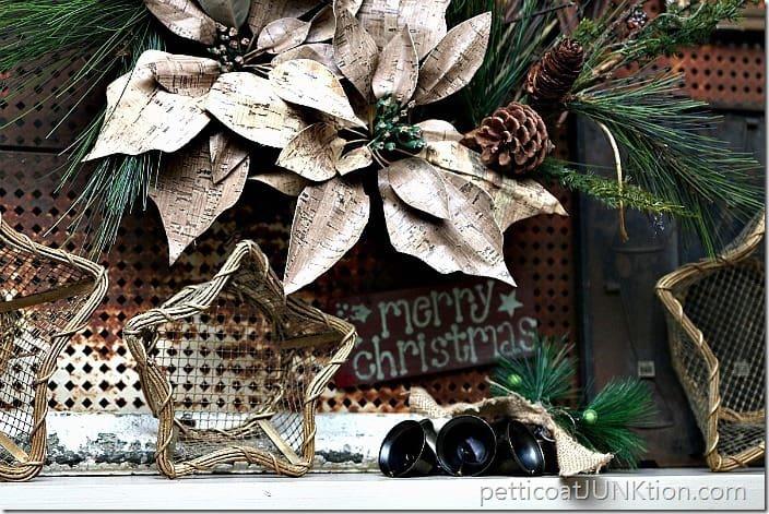 cork look poinsettia wreath Petticoat Junktion