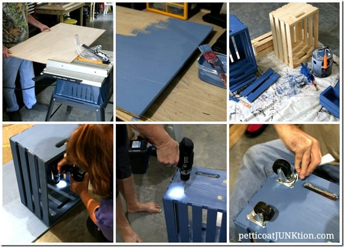 how to make a kids crate table workstation Petticoat Junktion collage
