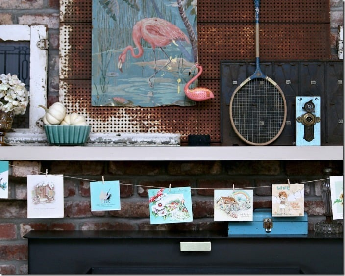 pink flamingo mantel with vintage card garland Petticoat Junktion