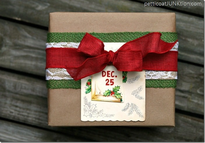 red and green burlap ribbon wrapped Chrismas gift idea Petticoat Junktion