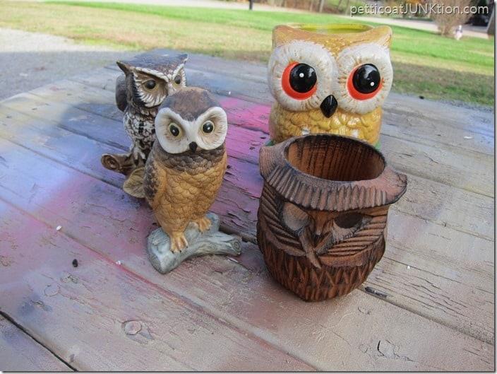 thrift store owls Petticoat Junktion