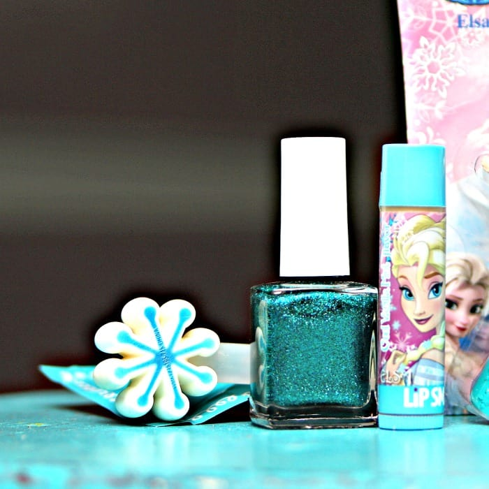 turquoise fingernail polish and chapstick Elsa Frozen movie themed for gift