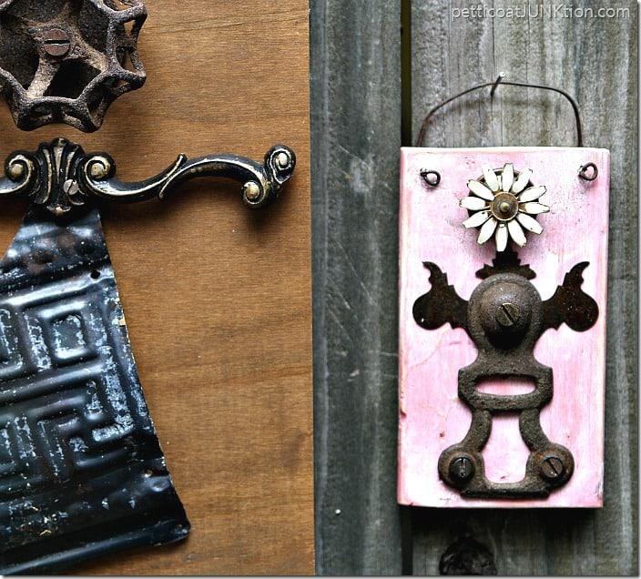 upcycled vintage tin RosaAnne Angel salvage art Petticoat Junktion