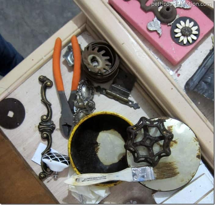 waxing reclaimed hardware salvage art project Petticoat Junktion