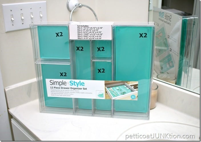 12 piece drawer organizer from Sams Pettiocat Junktion bathroom organization project