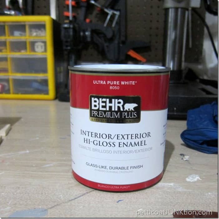 Behr Hi Gloss Pure White paint Petticoat Junktion project