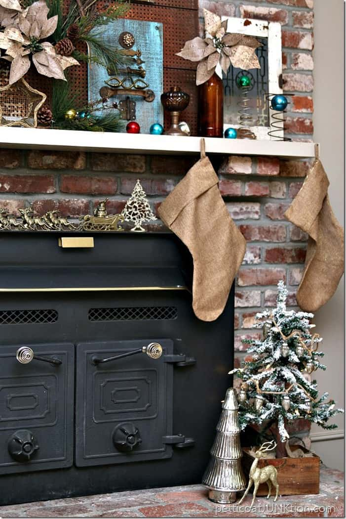 Christmas fireplace mantel display Petticoat Junktion