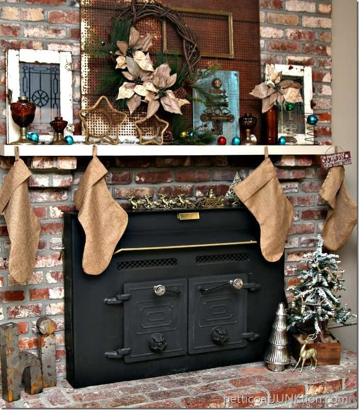 Christmas mantel decor turquoise and amber Petticoat Junktion