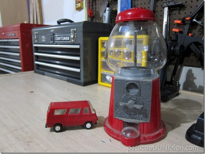 Red van and red gumball machine Craft project Petticoat Junktion