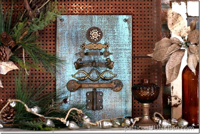 Sparkle and Rust Hardware Christmas Tree Petticoat Junktion reclaim project
