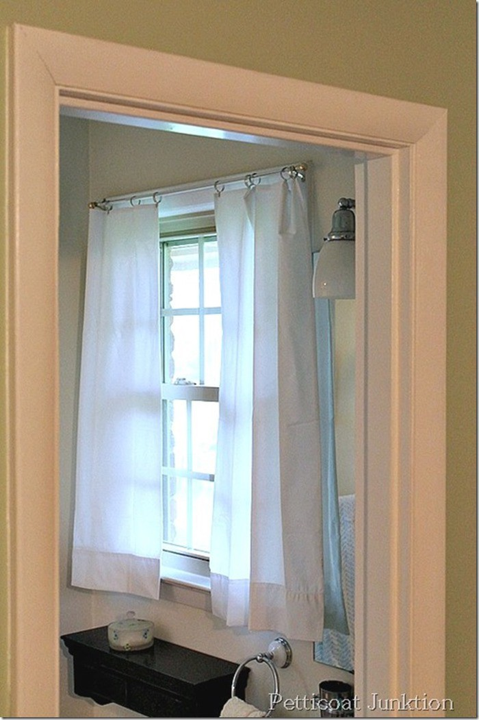 White pillow case curtains straight from the package Petticoat Junktion top 10 diy projects