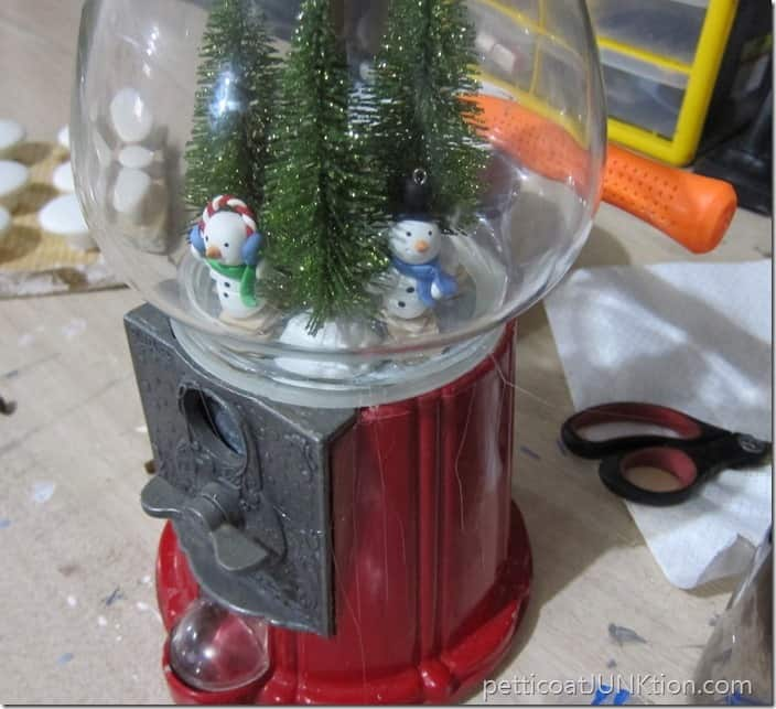 diy snowglobe gumball machine project Petticoat JUnktion