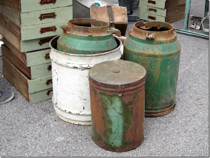 greem metal cans Nashville Flea Market Petticoat Junktion shopping trip