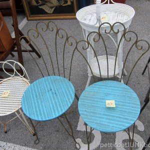 Pair of Vintage Wrought Iron Vanity Chairs