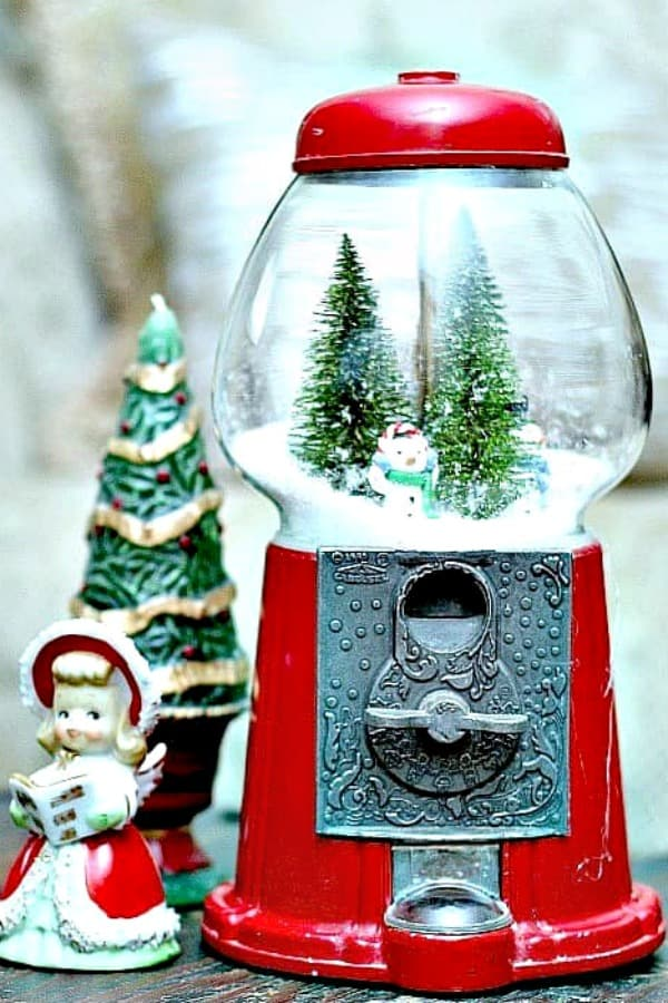 winter scene in a recycled gumball machine