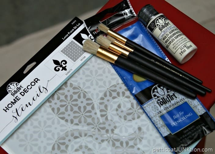 FolkArt Stencil Brushes Paint Supplies Petticoat Junktion project