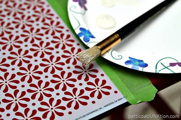 How to stencil with a dry brush Petticoat Junktion Imperial Red project