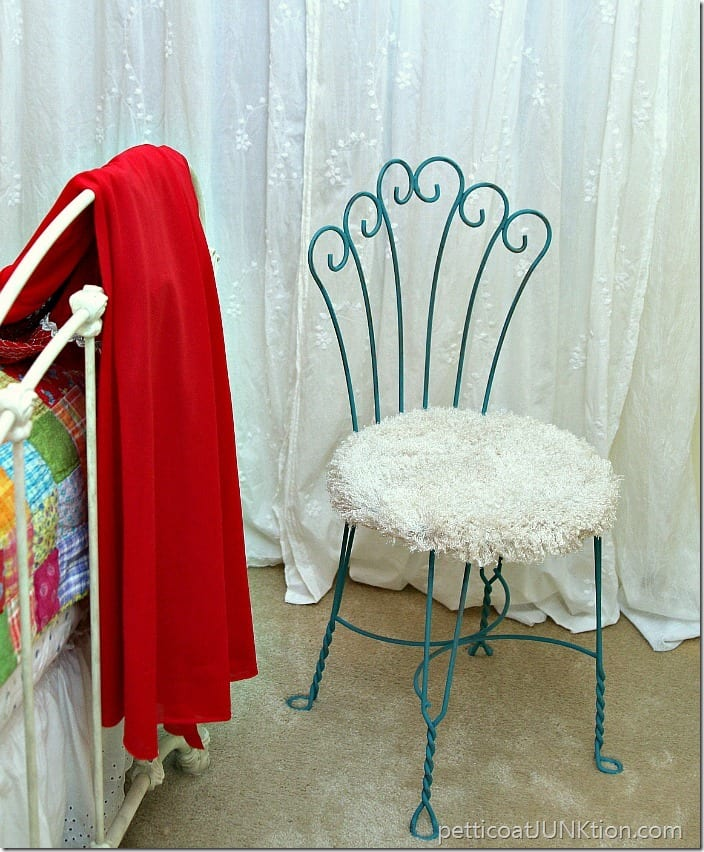 Pretty turquoise vanity chair with soft furry fabric seat Petticoat Junktion project