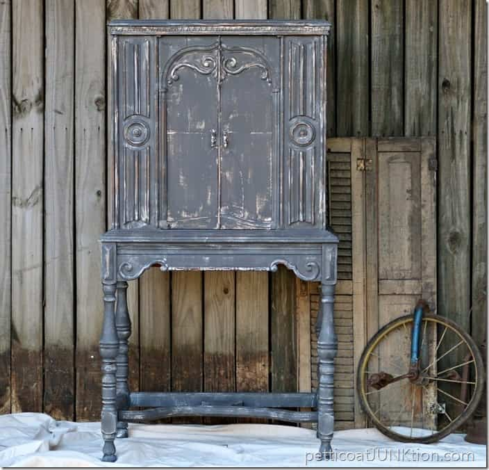 The Gray Cabinet With White Details And Distressing Petticoat Junktion