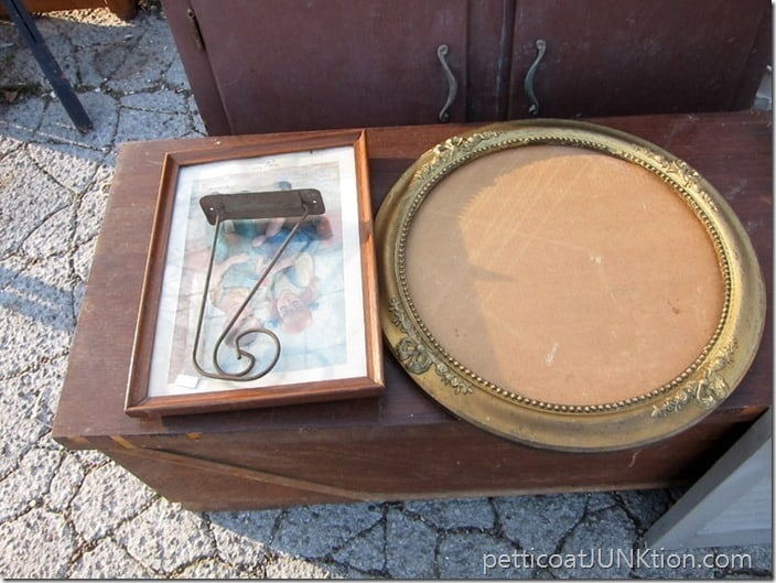round gold frame and rusty hanger Petticoat Junktion