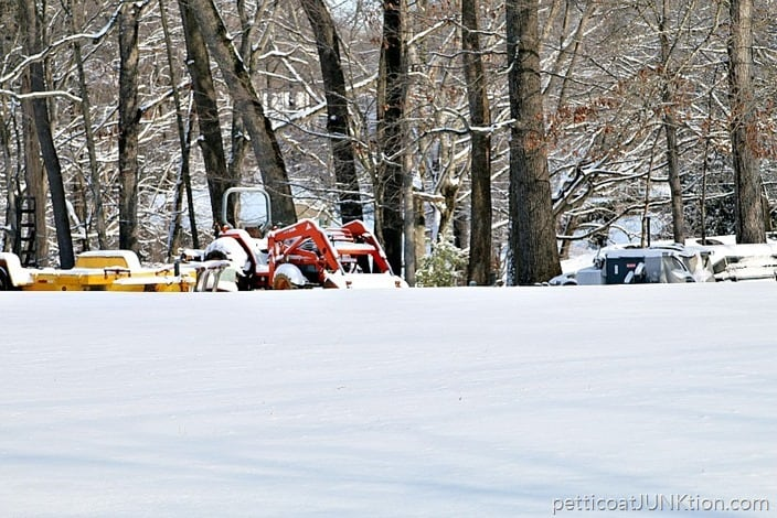 snow covered lawn equipment Petticoat Junktion blizzard 2