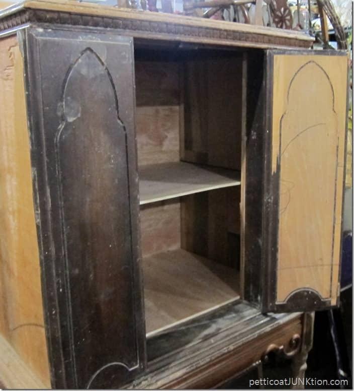 vintage radio cabinet inside