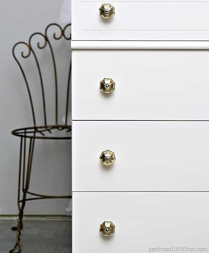 white drawers decorated wtih gold mercury glass bling Petticoat Junktion