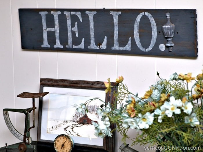 Hello Sign inspired by an Adele Song Petticoat Junktion DIY project