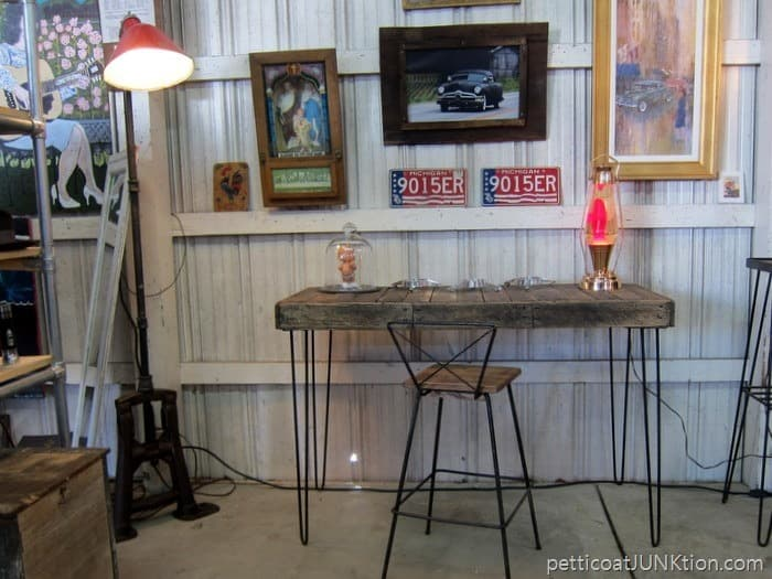 Industrial Decor Table and Stool From The Nashville Flea Market Petticoat JUnktion shopping trip