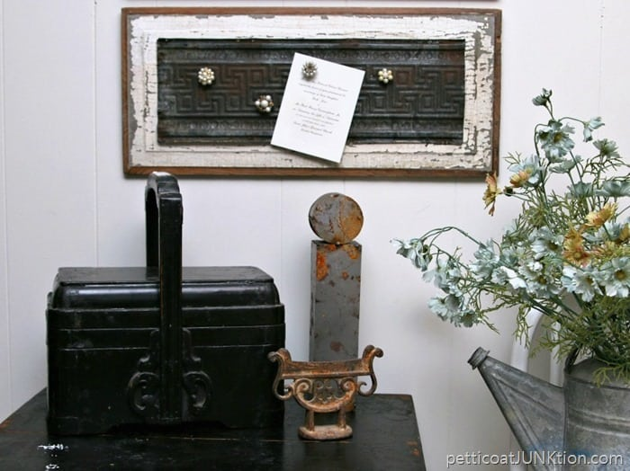 Perfectly Paired Vintage Earring Magnets and Rusty Tin Petticoat Junktion diy project
