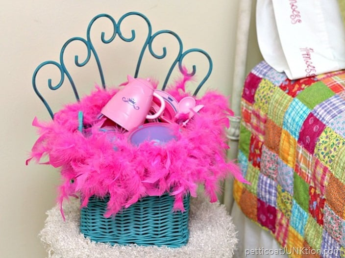 Hot Glue A Pink Feather Boa To A Turquoise Basket
