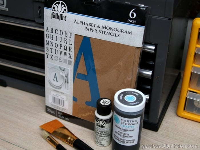 project supplies FokArt paint Martha Stewart paint FolkArt STencils Petticoat Junktion