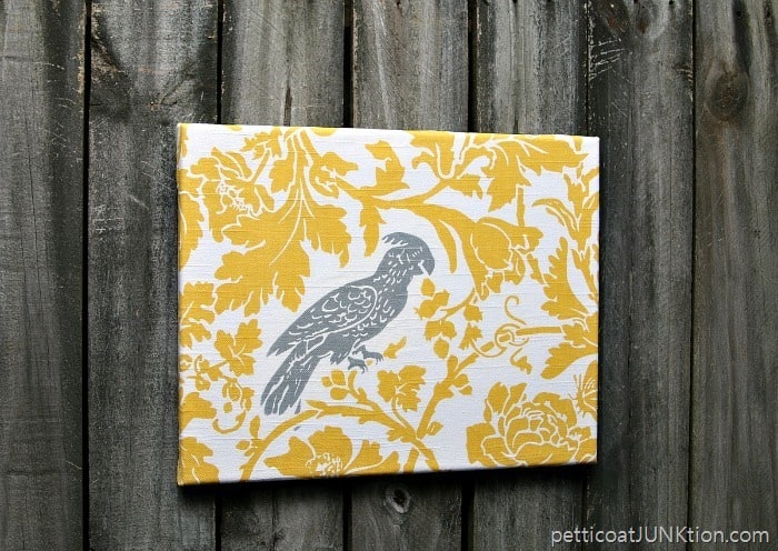 Cockatiel Fabric covered canvas wall decor easy diy projects Petticoat Junktion project