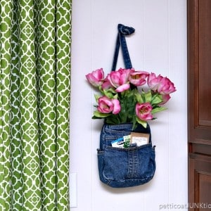 DIY My Spring With Pink Tulips In A Denim Purse