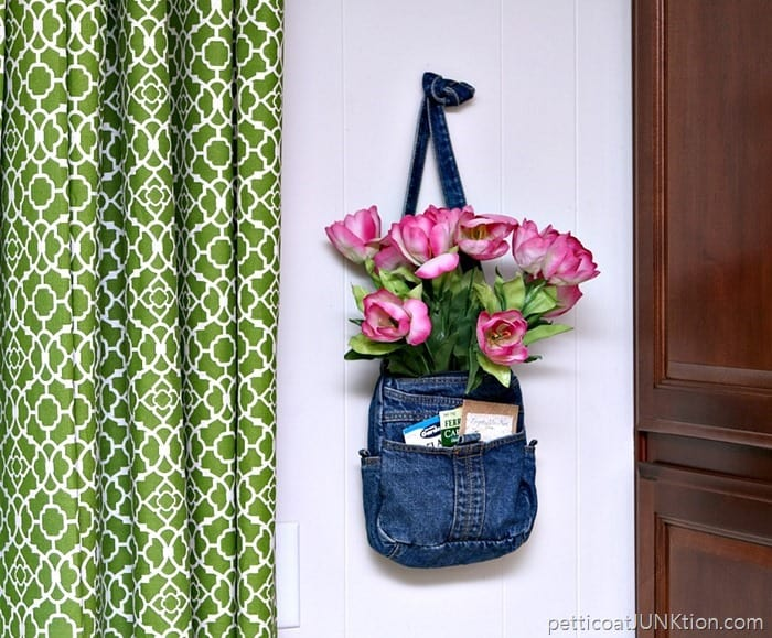 Pretty Pink Tulips and flower seed packets In A Recycled Denim Purse Petticoat Junktion thrifty craft project