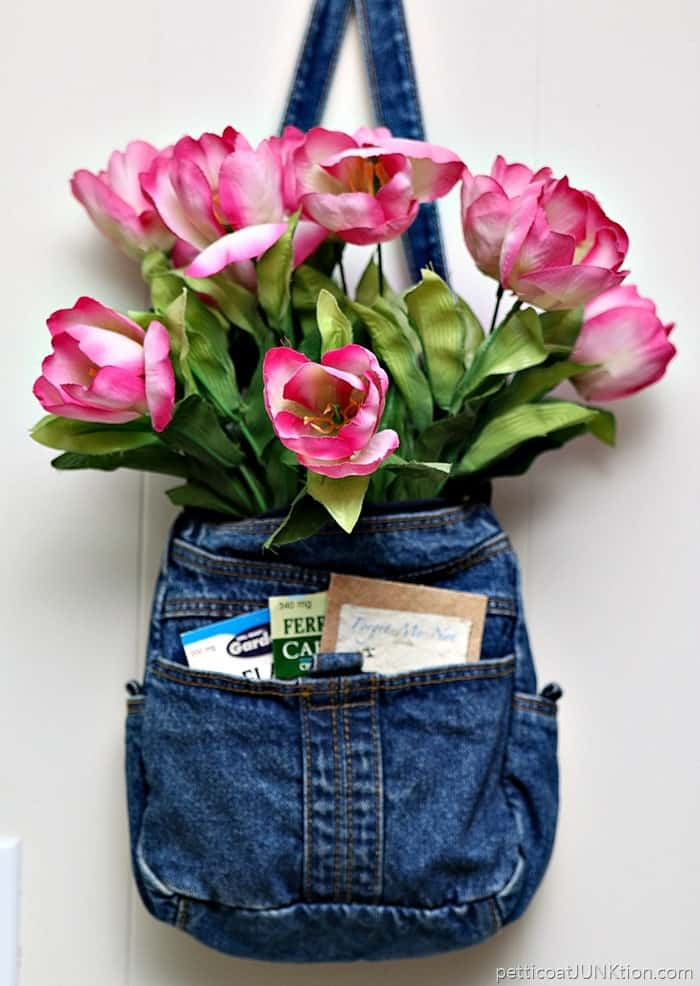 Show Off Pink Tulips In A Recycled Denim Purse Petticoat Junktion