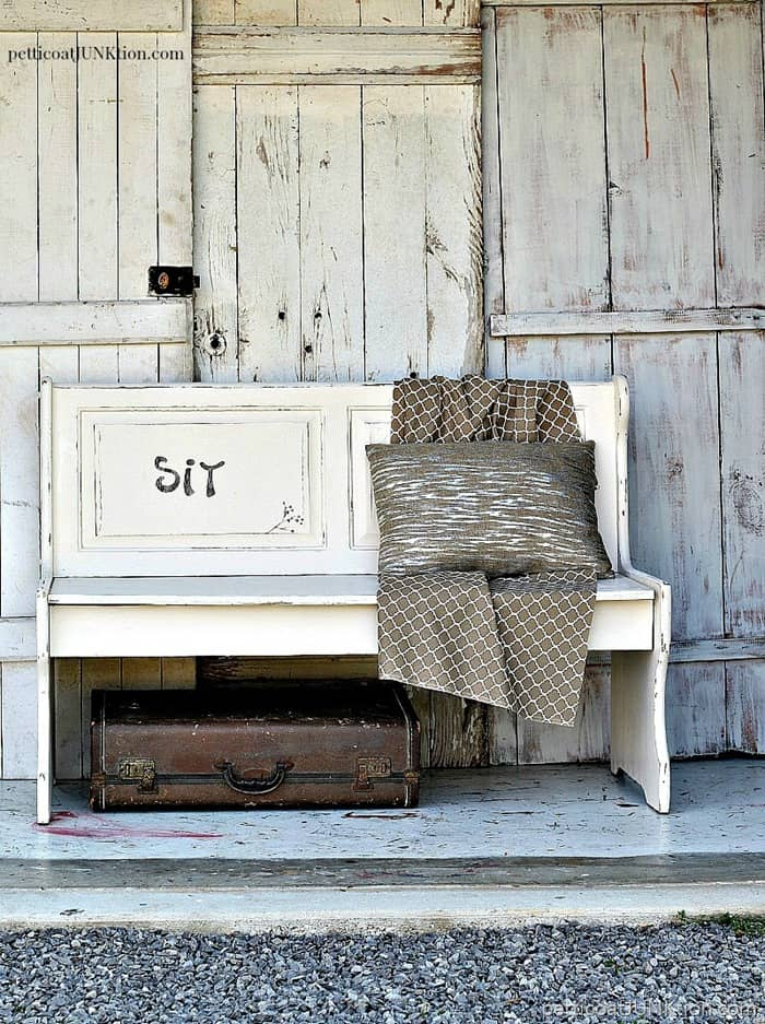 Simple Farmhouse Style Furniture Makeover Petticoat Junktion white bench project 1
