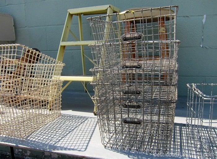 Vintage Locker Baskets Are Not In My Budget Petticoat Junktion Nashville Flea Market Shopping Trip