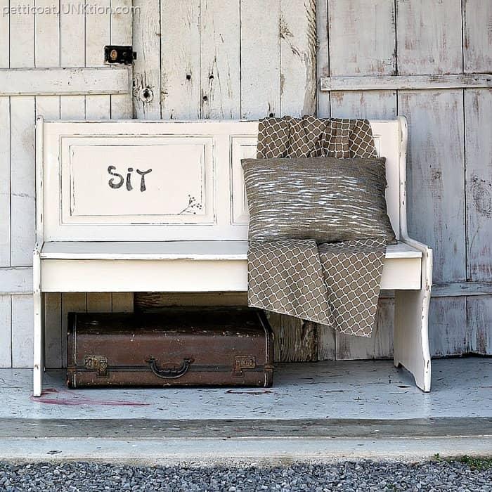White Distressed Farmhouse Bench Furniture Makeover