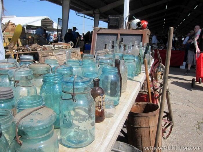 blue mason jars Petticoat Junktion Nashville Flea Market Shopping Trip